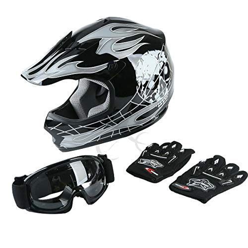 TCT-MT Helmet Motocross w/Goggles+Gloves DOT Youth Helmet Hot Black Skull Dirt Bike ATV Helmet Medium