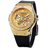 Excellent Reloj para Hombres Reloj mecánico Totalmente automático para Hombres con Correa de Goma Hombre Big Hollow dial Moda Casual,C04