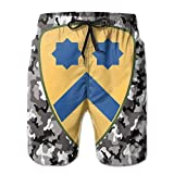 Jiger Army 2nd Cavalry Division Male Swim Trunks Quick Dry Waterproof Beach Pants Beach Board Short with PocketsM