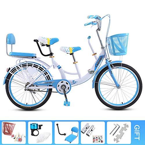 Kuan Tándem de la Bicicleta de la Bici de Padres y niños de Acero al Carbono de Alta la Madre y del bebé de Bicicletas Bicicleta Cadena Cerrada,Azul,24inch