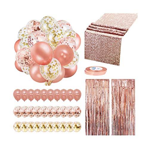 PRETYZOOM Bruiloft Rose Goud Decoraties Set Latex Ballonnen Glitter Ballonnen Set Fringe Deur Gordijnen Photo Prop Pailletten Tafelloper voor Bruiloft Verjaardag