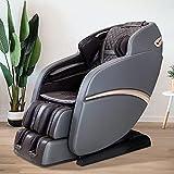 SUFUL - Sillón de masaje para cuello, espalda, piernas y pies, con raíles en forma de S y L, y con altavoz Bluetooth, modelo SUFUL-S6, marrón grisáceo