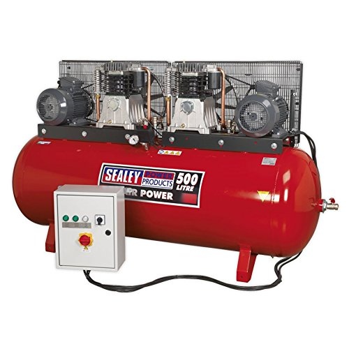 SEALEY Sac4505555b 500 liter 2 x 5,5 HP 3 Ph 2-traps compressor beltdrive met cilinder