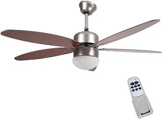Bakaji Ventilador lámpara de techo 5Aspas de madera con lámpara 3Velocidad y mando a distancia para Comado a distancia dimensiones 130x 40cm color marrón