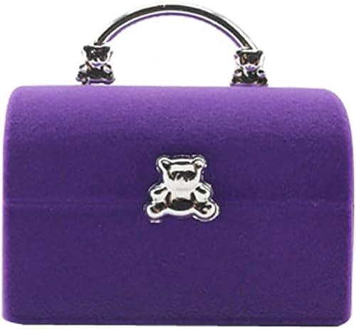 Mallfousa Wedding Engagement Velvet Rings Storage Box Jewelry Display Organizer Case(Purple)