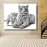 RTCKF Tigres Blancos Pinturas de Acuarela Animales Carteles de Pared para Sala de Estar HD Impresión Lienzo Pintura al óleo Decoración para el hogar Imágenes 50x70CM (Sin Marco)