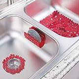 mDesign Set de Cuisine (3 pièces) pour évier 2 bacs – Accessoires de Cuisine en Plastique pour l'évier – Filtre évier, Tapis d'évier et Porte – éponge, Design Floral – Rouge