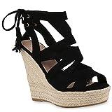 Damen Sandaletten Sandalen Keilabsatz Leder-Optik...