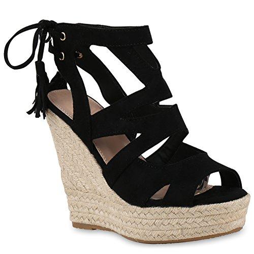 Damen Sandaletten Sandalen Keilabsatz Leder-Optik Plateau Sommer Wedges Schleifen Party Hochzeit Braut Schuhe 131134 Schwarz 39 Flandell
