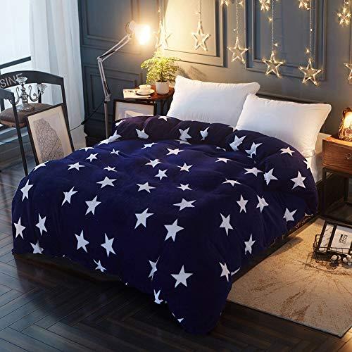 Lanqinglv Stern Bettwäsche 220x240 Biber Warm Winter Blau Violett Microfaser Thermo Fleece Bettbezug Perfekt für Damen Mädchen Kinder mit 2 Kissenbezug 48x74cm