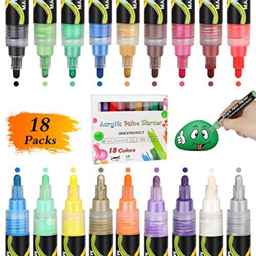 DIAOPROTECT Acrylstifte Marker Stifte,18 Farben Wasserfeste Stifte Marker Paint Pen für Stein Bemalen Stifte Set, DIY Keramik Glas Porzellan Metall Kunststoff Holz Leinwand mit Reversiblen Spitze