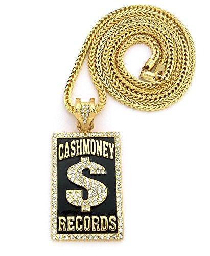 Crescendo SJ INC New ICED Out Cash Money Records Pendant &4mm/36 Franco Chain Necklace - XP940G
