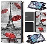 CoverHeld Apple iPhone 6 / 6s Hülle - Handyhülle für Apple iPhone 6 / 6s - Schutzhülle aus Kunstleder Design 1107 Eifelturm Paris Frankreich Rot Grau Klapphülle Beidseitig Cover