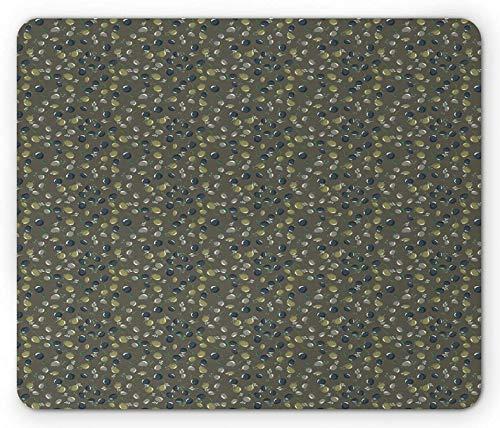 Olive Mouse Pad, verschiedene kreisförmige Blätter und Zweige der Bio-Plantage in verschiedenen Farbtönen, rechteckiges, rutschfestes Gummi-Mauspad, Standardgröße, Taupe und Mehrfarben