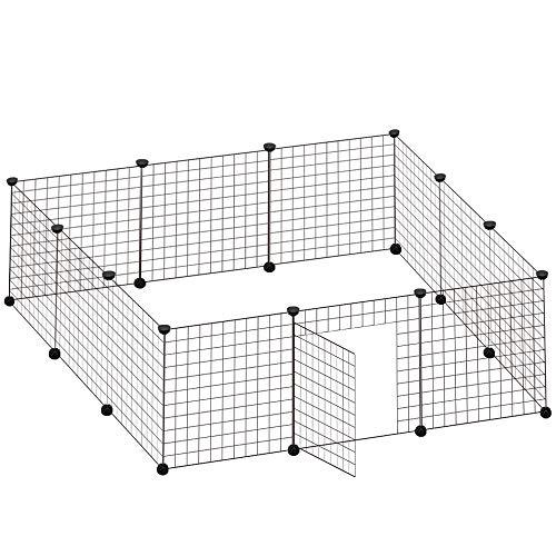 VENTOTA ペット用フェンス バリアゲート プレイサークル ドア付 50㎝網目スクエア 黒12枚