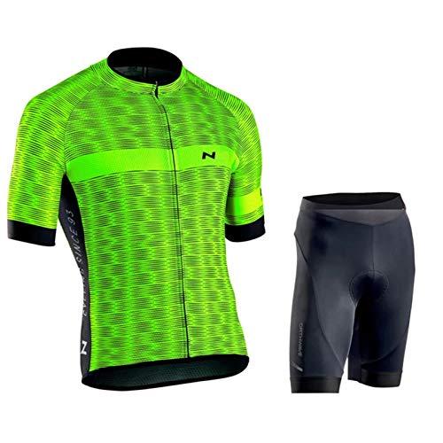 QWA Hombre Conjunto Ropa de Ciclismo para Verano, Maillot Manga Corta de Bicicleta, Chaqueta de Ciclismo Reflectante, para Deportes Aire Libre Ciclo Bicicleta (Color : Green 1, Size : E(XL))