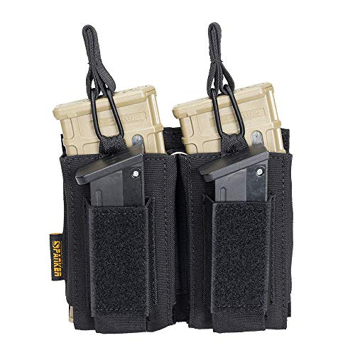 EXCELLENT ELITE SPANKER Open-Top Single/Double/Triple Mag Pouch for M4 M14 M16 AK AR Elastic Kangaroo Rifle Magazines and Pistol Mag Pouch(Black)