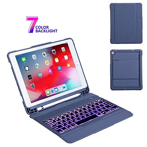 IPad Air 10.5 hoesje met toetsenbord, afneembaar 7 kleuren draadloos toetsenbord met achtergrondverlichting - iPad Pro 10.5 2017 toetsenbord, toetsenbord met achtergrondverlichting, Blauw