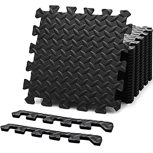 Felnats Puzzle Exercise Mat, EVA Foam Interlocking Tiles (Pack of 20), Protective Flooring for Home Gym Workouts Equipment, 12.5 x 12.5 x 0.4 inch