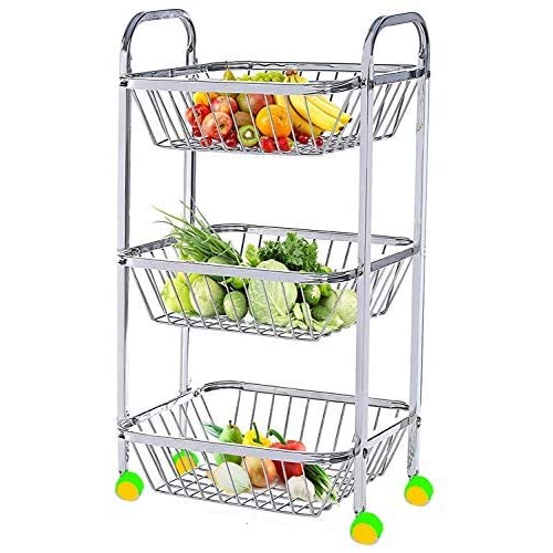 mochen Stainless Steel Fruit Vegetable Basket Kitchen Rack Trolley with Tiers and 3 Section (25 x 13-inch)