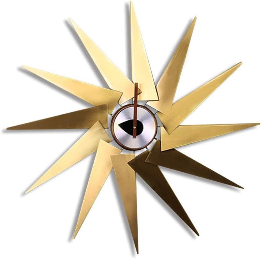 JYMBK Wall Clock Max unisex 64% OFF Brass Windmi Creative Turbine Watch
