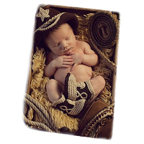 Newborn Monthly Baby Photo Props Outfits Crochet Cowboy Set for Boy Photography Shoot