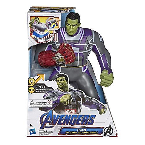 Hasbro Marvel Avengers - Endgame Hulk Pugni Invincibili, Action Figure Elettronica con 20 Suoni e Frasi [Versione Italiano]