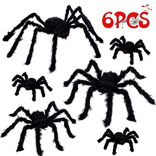 Joyjoz Halloween Deko Riesige Spinnen 6 PCS, Unheimlich Halloween Dekoration Requisiten, Realistisches Haariges Spinnen-Set für Fensterwand Hof Drinnen Draußen Dekoration (4 Größen)