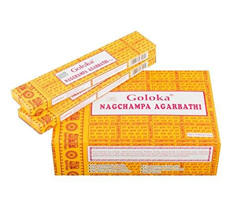Pamai Pai® 192g Nag Champa Räucherstäbchen Goloka Grundpreis: 5,98€/100g Agarbathi 12 x 16g Räucherwerk gelb Duft