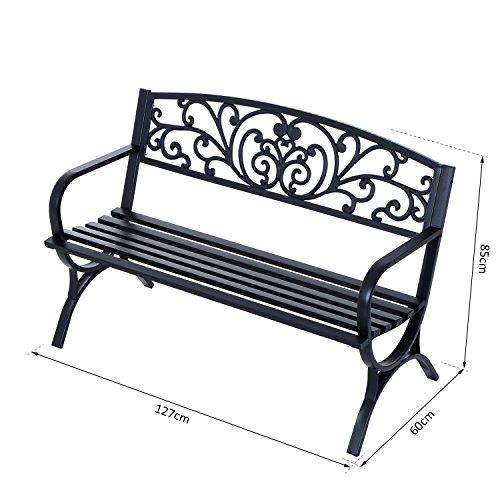 Outsunny® Gartenbank Sitzbank Bank Metall Gartenmöbel 2-Sitzer Schwarz 2 Module (Modell 1) - 6