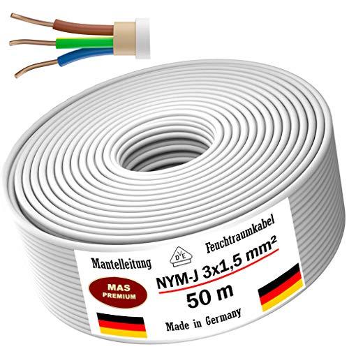 Feuchtraumkabel Stromkabel 20m, 50m oder 100m Mantelleitung NYM-J 3x1,5mm² Elektrokabel Ring für feste Verlegung (50m)