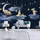 3D Papel Tapiz Mural Estilo Mediterráneo Dibujos Animados Conejo Luna Estrella Cielo Nocturno Habitación De Niños Decoración De Dormitorio para Niños para Habitación De Niños-150cmx105cm(LxA)
