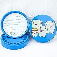 乳歯ケース 木製の子供のベビートゥースボックス歯の保存ボトルガールボーイベビートゥース保存ボックス 子供用ギフト/誕生日プレゼント (色 : 青, Size : One size)