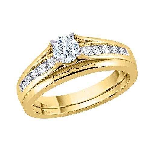 Juego de novia de diamante solitario en oro de 14 quilates (1/2 cttw) (Color-JK) (Claridad-SI2/I1)