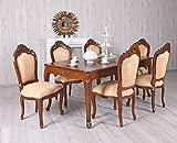 XXL Sitzgruppe Mahagoni Sitzgarnitur Tisch & 6 Stühle Antik Essgruppe Massiv Palazzo Exklusiv