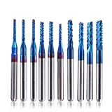 SainSmart Genmitsu 10Pcs Nano Blue Coat Schaftfräser CNC Fräser, 1.5-3.175mm, 1/8'Schaft