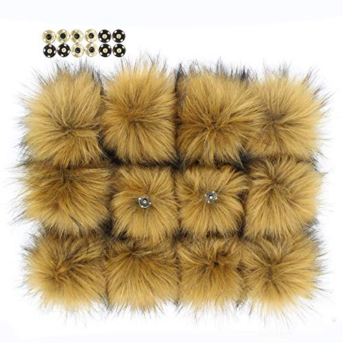 Fluffy Faux Raccoon Fur Pompoms with Press Button for Knitting Hat Garment Accessories 6 Inches Pack of 12 (Camel)