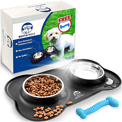Bent & Freck Dog Feeding Station - Spill Proof Small Dog Bowls for Food and Water - Puppy Sized Dishes for Boy Or Girl Dogs