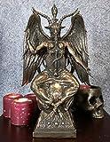Ebros Large 15' Tall Church of Satan Baphomet Sabbatic Goat Idol Sitting On Globe Statue Satanic Occultic Altar Sculpture Home Decor Solve Et Coagula Illuminati Goat of Mendes Lilith Satanic Figurine