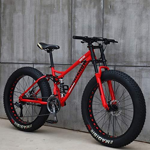 26 Zoll Mountainbikes, MJH-01 Erwachsene Fat Tire Mountain Trail Bike, 24-Gang-Fahrrad, Rahmen aus Karbonstahl, Doppelte Vollfederung, Doppelte Scheibenbremse, Weiß/Rot