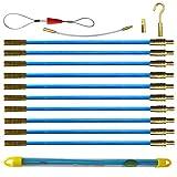 Aewio 通線 入線 配線 呼線工具 ロッド ケーブル牽引具セット3.3m (33cmx10pcs) (全長さ3.3m ブルー)