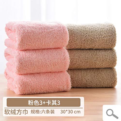 WLLLO Kleine Handtücher 6 Waschhandtücher Weibliche Haushaltskinder Weiche Superabsorber-Handtuch Square, B