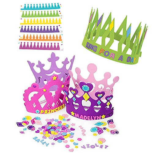 12 Princess Foam Tiara Craft Kits + 12 Prince King Foam Crown Craft Kits - Great fun for kids birthday party.