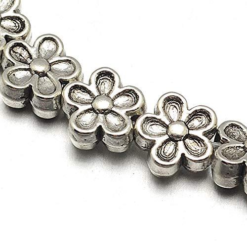 Cuentas de plata tibetana, espaciadoras de metal de 7 mm, 30 unidades de flor, 1 cordón de cuentas espaciadoras para manualidades, joyas, cadenas, pulseras, joyas
