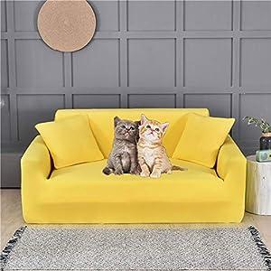 Fundas de Sofá Elásticas y Gruesas para 1/2/3/4 Plazas,Juego de Fundas de Sofá y Loveseat para Mascotas,Funda para Sofá Seccional para Sala de Estar,Protector de Muebles para Niños(Amarillo)(Colo