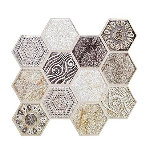 10 Piezas 3D Pegatina para Azulejos De Pared BañO Textura Autoadhesiva Azulejo De Pared Cocina Impermeable Backsplash Hogar Espesar Azulejos CalcomaníAs