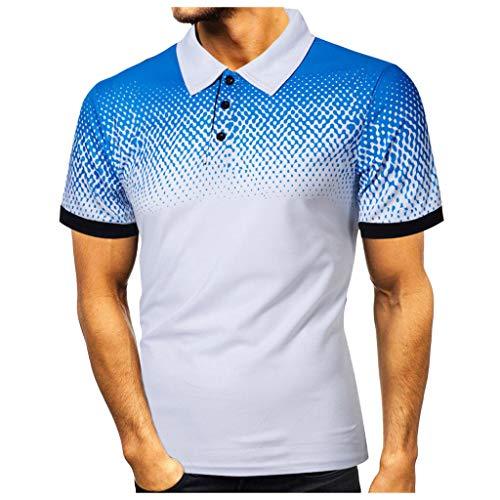 Yowablo Hommes Polo T-Shirts Manches Courtes Casual Personnalité de la Mode Casual Slim imprimé (XL,2 Blancs)