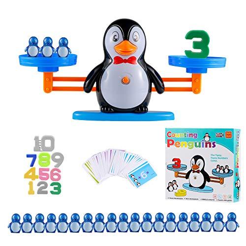 Ulikey Montessori Mathe Waage Spielzeug, Digital Game Waage Spielzeug, Cartoon Tier Balance Skala Math Spiel, Zählen und Rechnen, Spielzeug Lernspielzeug mit Waage und Zubehör für Kinder(Pinguin)