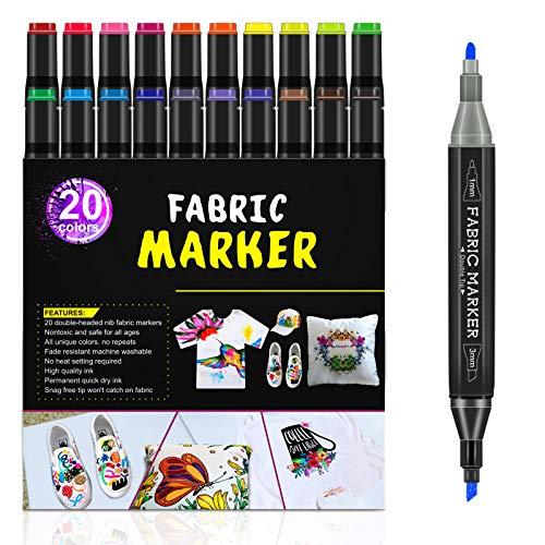 Rotuladores de tela RATEL, 24 con 20 marcadores textiles doble punta, 4 plantillas de dibujo, permanente y lavable Marcadores de tela,decorar para camisetas, baberos, gorras, zapatos, bolsos
