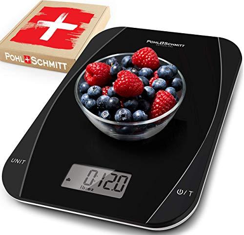 Pohl Schmitt - Báscula digital de cocina para alimentos, multifuncional para cocinar y hornear en gramos/onzas, apagado automático, acero inoxidable (pilas incluidas) (plata)